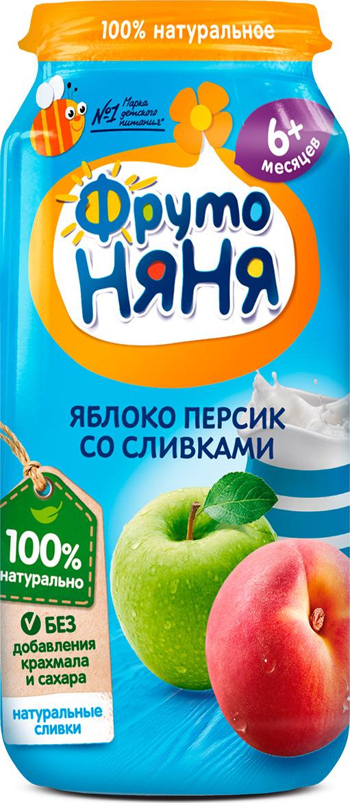 ФрутоНяня пюре из яблок и персиков со сливками с 6 месяцев, 250 г пюре фрутоняня из яблок и бананов со сливками с 6 мес 250 г