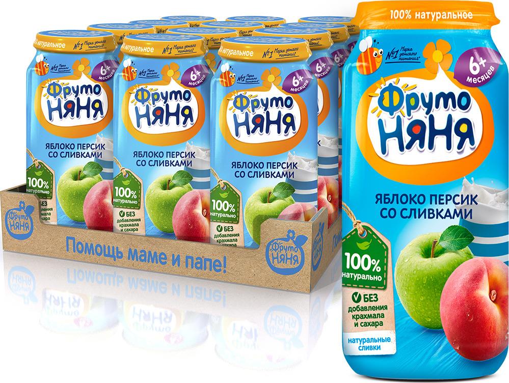 ФрутоНяня Яблоко и персики со сливками пюре с 6 месяцев, 12 шт по 250 г