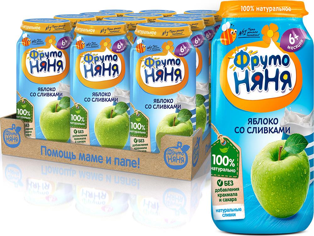 ФрутоНяня Яблоко со сливками пюре с 6 месяцев, 12 шт по 250 г фрутоняня яблоко и груша со сливками пюре с 6 месяцев 12 шт по 250 г