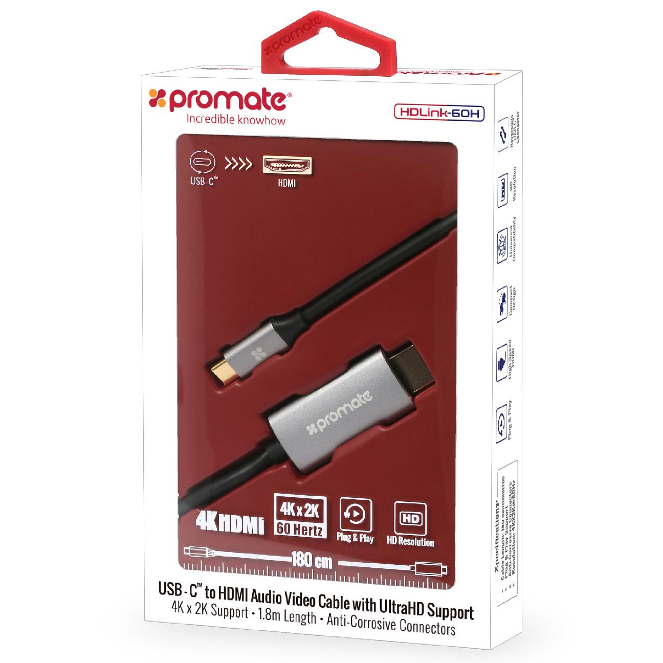 Кабель Promate HDLink-60H, серый зеленый juneng llano type c линия hdmi кабель преобразователя macbook apple ноутбук видео конвертер usb c к hdmi видео кабель 2 м