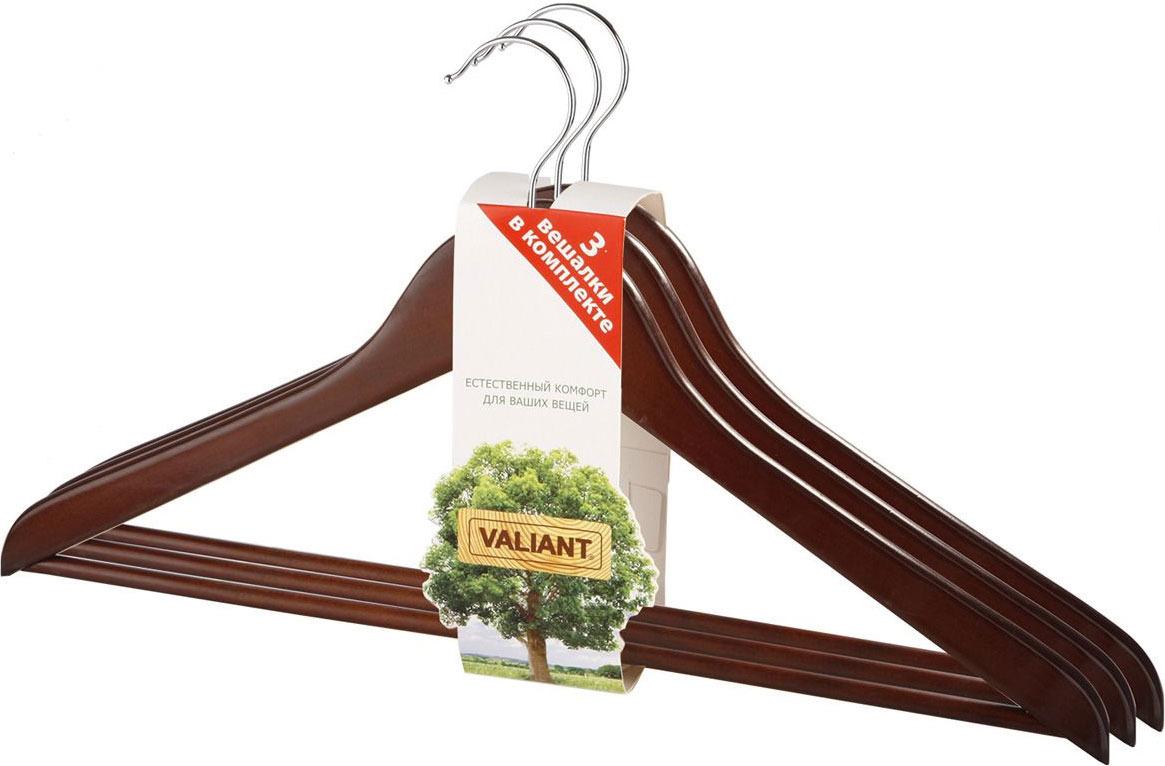Вешалка Valiant, цвет: коричневый, 3 шт набор вешалок 2 шт valiant