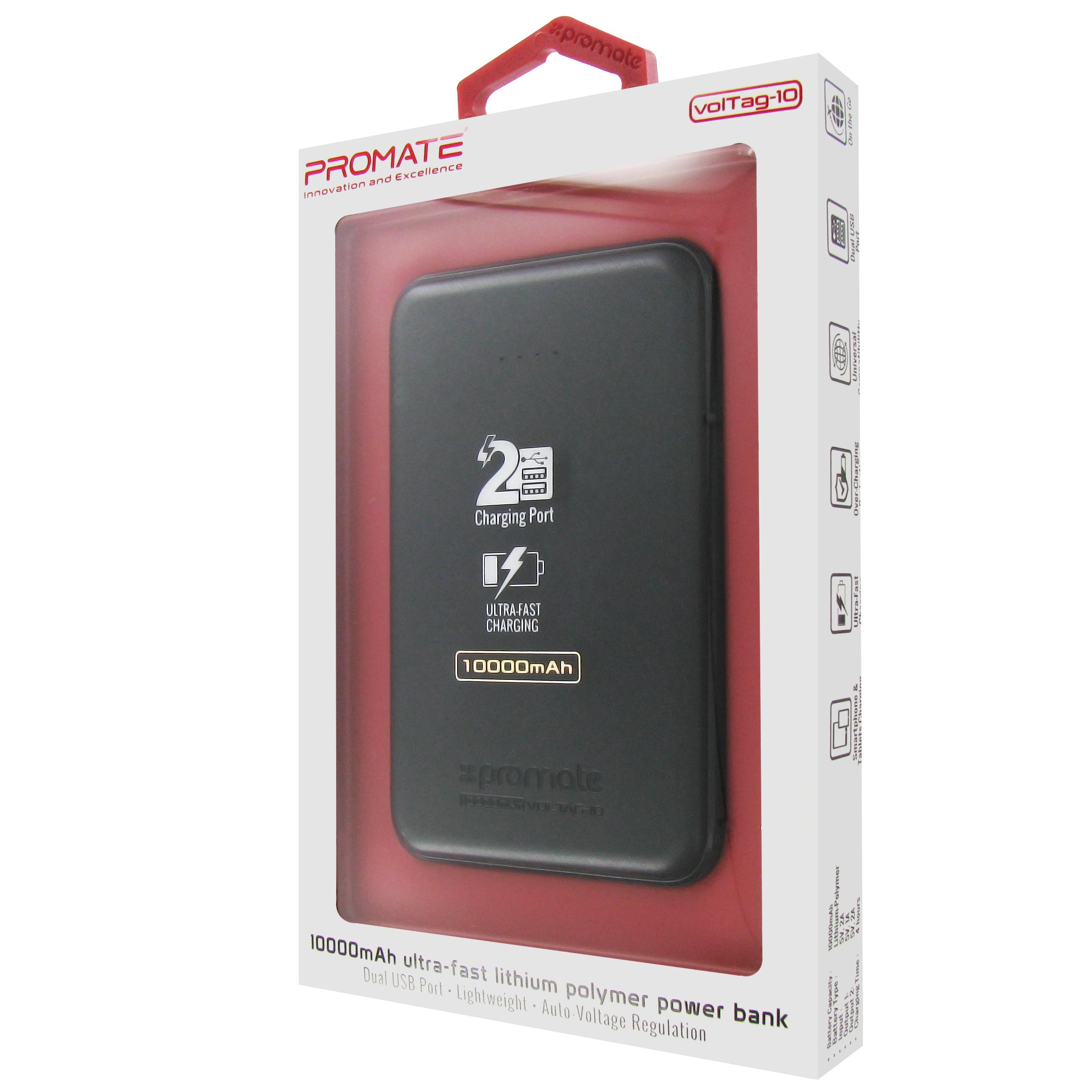 Внешний аккумулятор Promate VolTag-10 Black, черный 2600mah power bank usb блок батарей 2 0 порты usb литий полимерный аккумулятор внешний аккумулятор для смартфонов светло зеленый