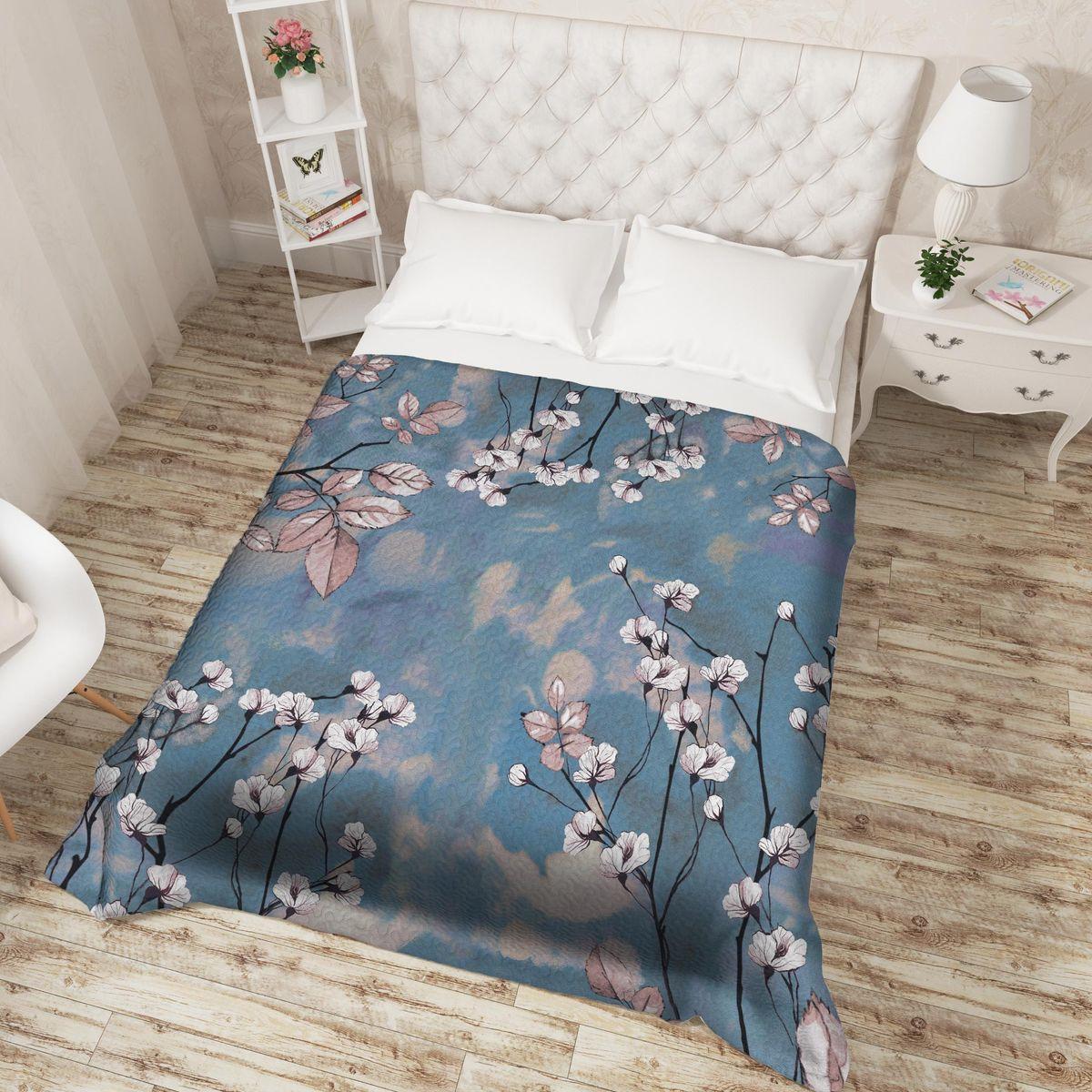 Покрывало Сирень Неизвестный цветок, ПКМК005-14319, синий, 220х200