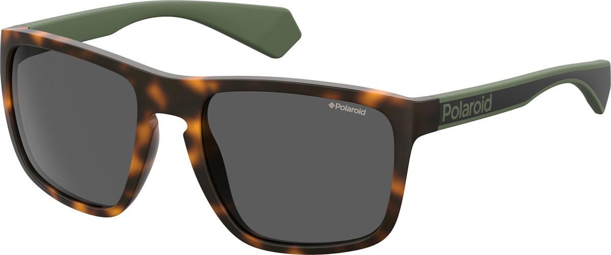 Очки солнцезащитные мужские Polaroid, PLD-201903PHW57UC, зеленый, коричневыйPLD-201903PHW57UCПоляризация, защита от УФ лучей.