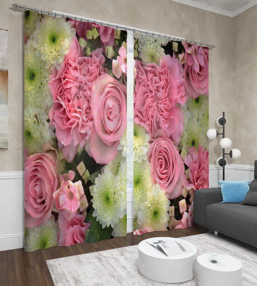 Фотошторы Сирень Астры и розы, ФШСТ001-13506, розовый, 260 х 150 см, 2 шт