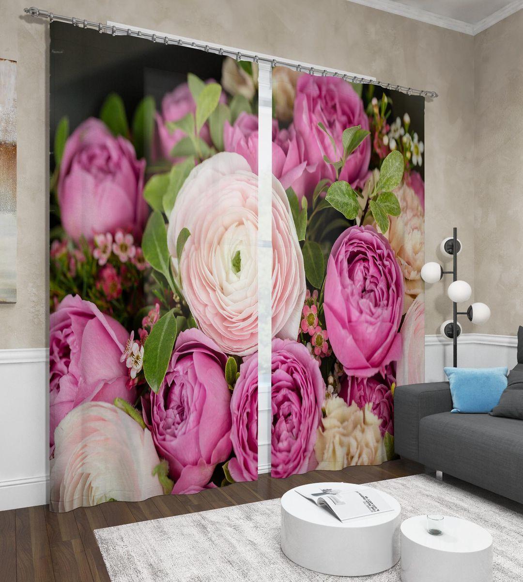 Фотошторы Сирень Нежные пионы, ФШСТ001-13584, розовый, 260 х 150 см, 2 шт