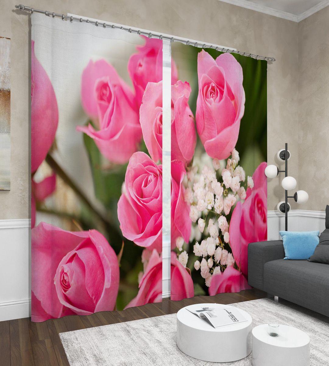 Фотошторы Сирень Крупные розы, ФШСТ001-13587, розовый, 260 х 150 см, 2 шт
