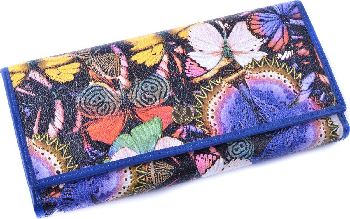 Кошелек женский Topo Fortunato Бабочки, TF 107-003, синий