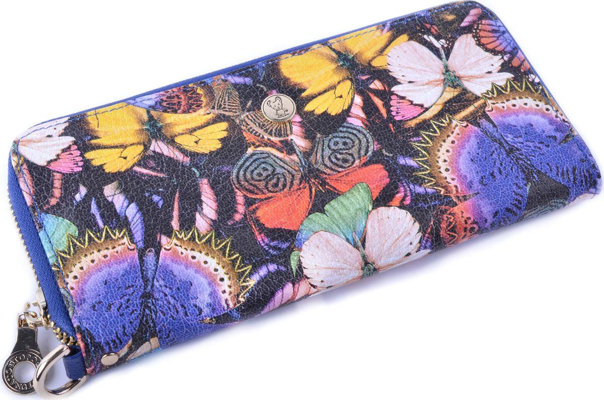 Кошелек женский Topo Fortunato Бабочки, TF 107-009, синий