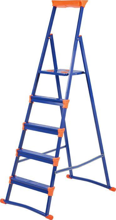 Стремянка Ника СМ, НИКА-СМ5+, синий, 5 ступеней стремянка nika см5 5 широких ступеней