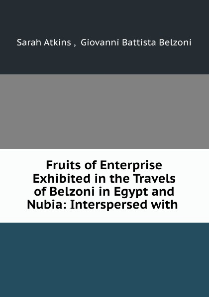 Sarah Atkins Fruits of Enterprise Exhibited in the Travels of Belzoni in Egypt and Nubia: Interspersed with . richard robert madden travels in turkey egypt nubia and palestine in 1824 1825 1826 and 1827 vol 1