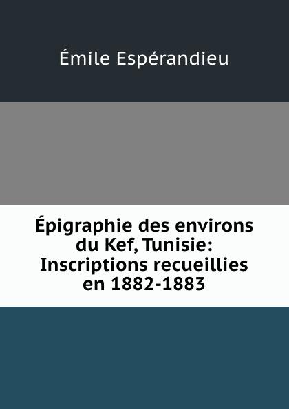 Émile Espérandieu Epigraphie des environs du Kef, Tunisie: Inscriptions recueillies en 1882-1883 все цены