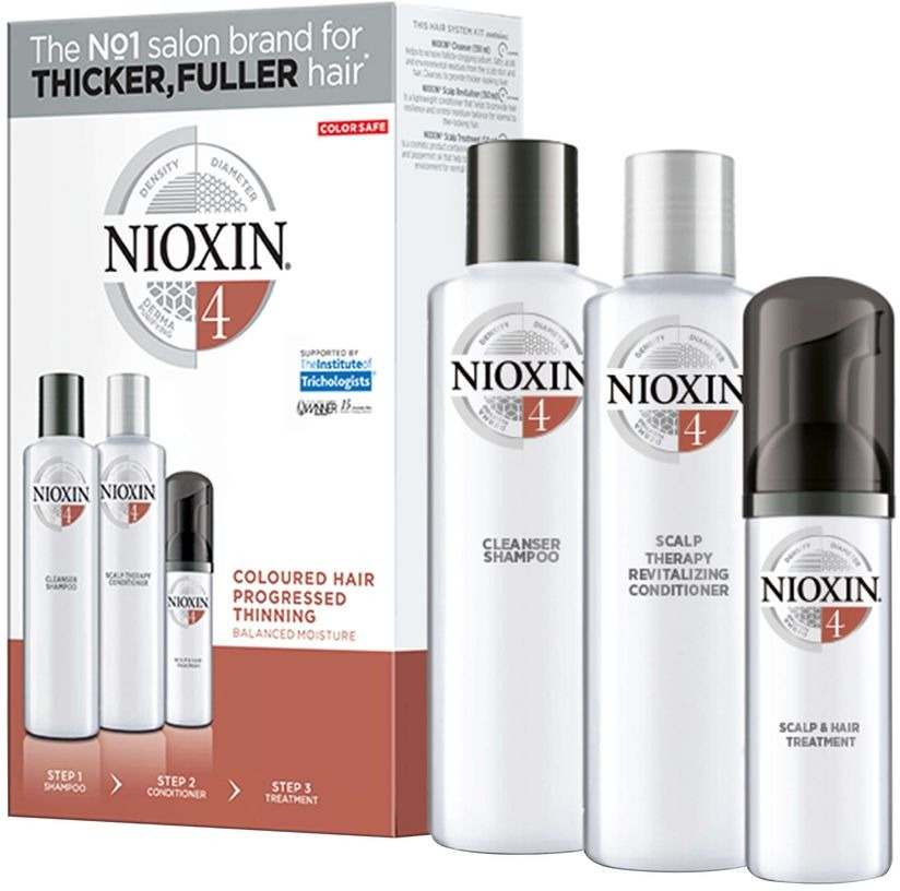 Nioxin Hair XXL Kit System 4 - Набор (Система 4) 300 мл+300 мл+100 мл81543678/7930Придание волосам визуальной густоты и объема, а также восстановление баланса влажности при помощи 3-ступенчатой системы Nioxin System 4 для окрашенных, истонченных волос. Система включает в себя три продукта, которые укрепляют волосы, предотвращая их выпадение и повреждение кутикулы, а также придает им густой вид. 3-х ступенчатая система создана для очищения, увлажнения и питания окрашенных волос, с сохранением их цвета. Очищающий шампунь Nioxin (300 мл): удаляет себум и другие загрязнения с волос и кожи головы. Увлажняющий кондиционер для кожи головы и волос Nioxin (300 мл): легкий кондиционер восстанавливает упругость волос, помогает контролировать баланс увлажнения кожи головы и волос. Питательная маска (100 мл): предотвращает выпадение волос из-за повреждения кутикулы, обеспечивая восстановление кожи головы 89% потребителей, которые попробовали систему, заметили эффект утолщения волос* * на основе опроса среди 230 американских экспертов, обеспокоенных истончением волос, проведенного SIRS, 2016. Полноценный профессиональный уход для окрашенных, истонченных волос System 4: объемные волосы и восстановление водного баланса Удаляет себум, жирные кислоты и другие загрязнения Делает волосы более упругими и контролирует водный баланс Восстанавливает кожу головы Рекомендуем!