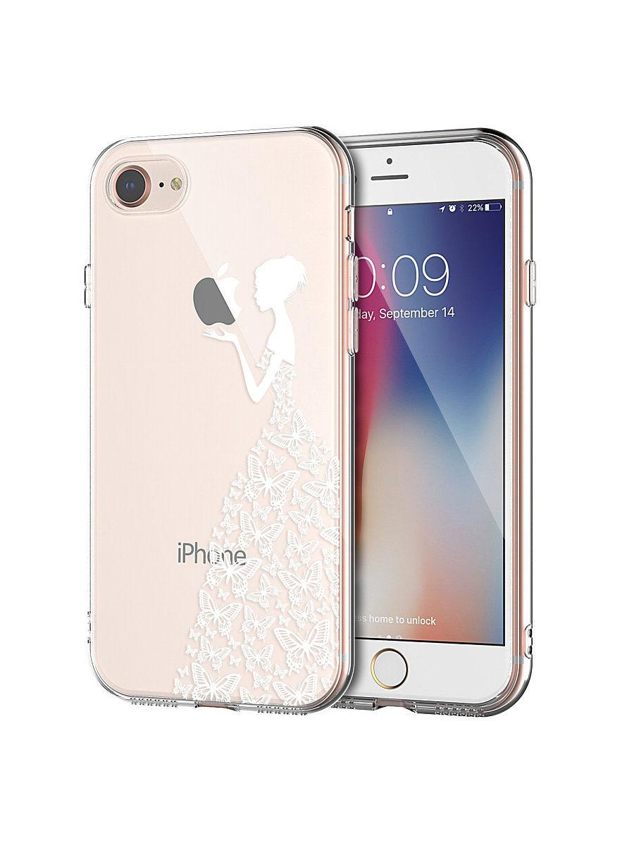 """Чехол для сотового телефона UVOO Art Design """"Девушка в платье из бабочек"""" для Apple iPhone 7 / 8, прозрачный"""