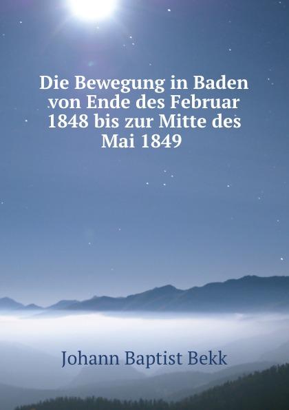 Johann Baptist Bekk Die Bewegung in Baden von Ende des Februar 1848 bis zur Mitte des Mai 1849 .