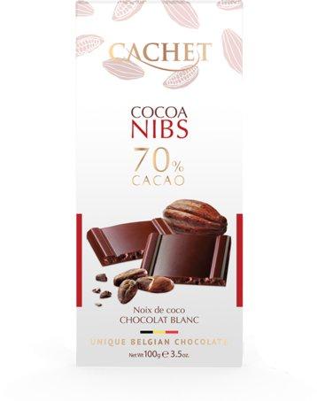 Шоколад Cachet Бельгийский горький премиум класса 70% какао с кусочками какао бобов, 100 г