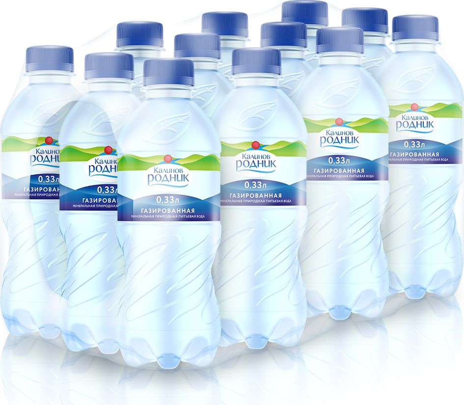 Вода питьевая минеральная Калинов Родник, газированная, 12 шт по 330 мл