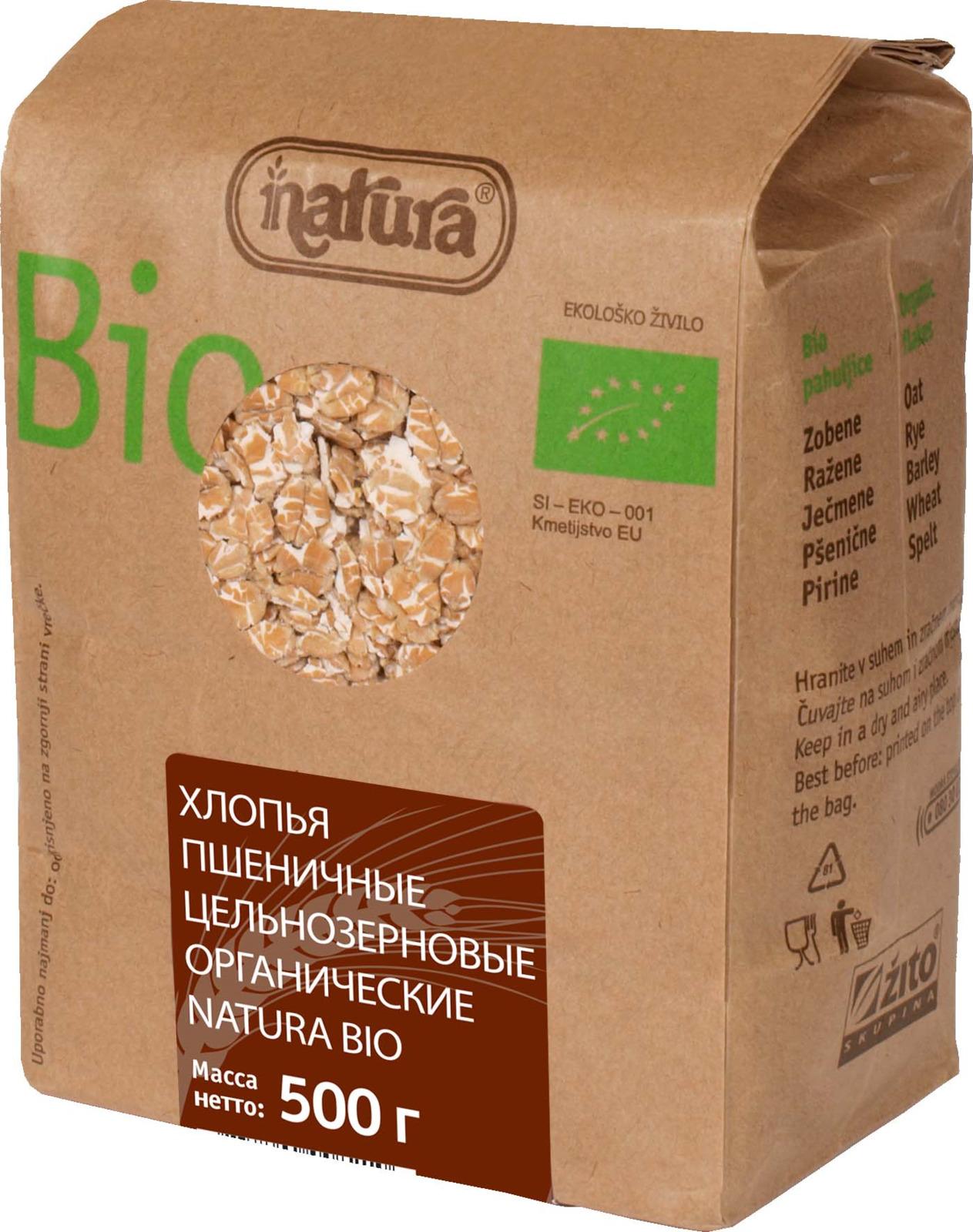 Zito Natura Bio Хлопья пшеничные цельнозерновые, 500 г