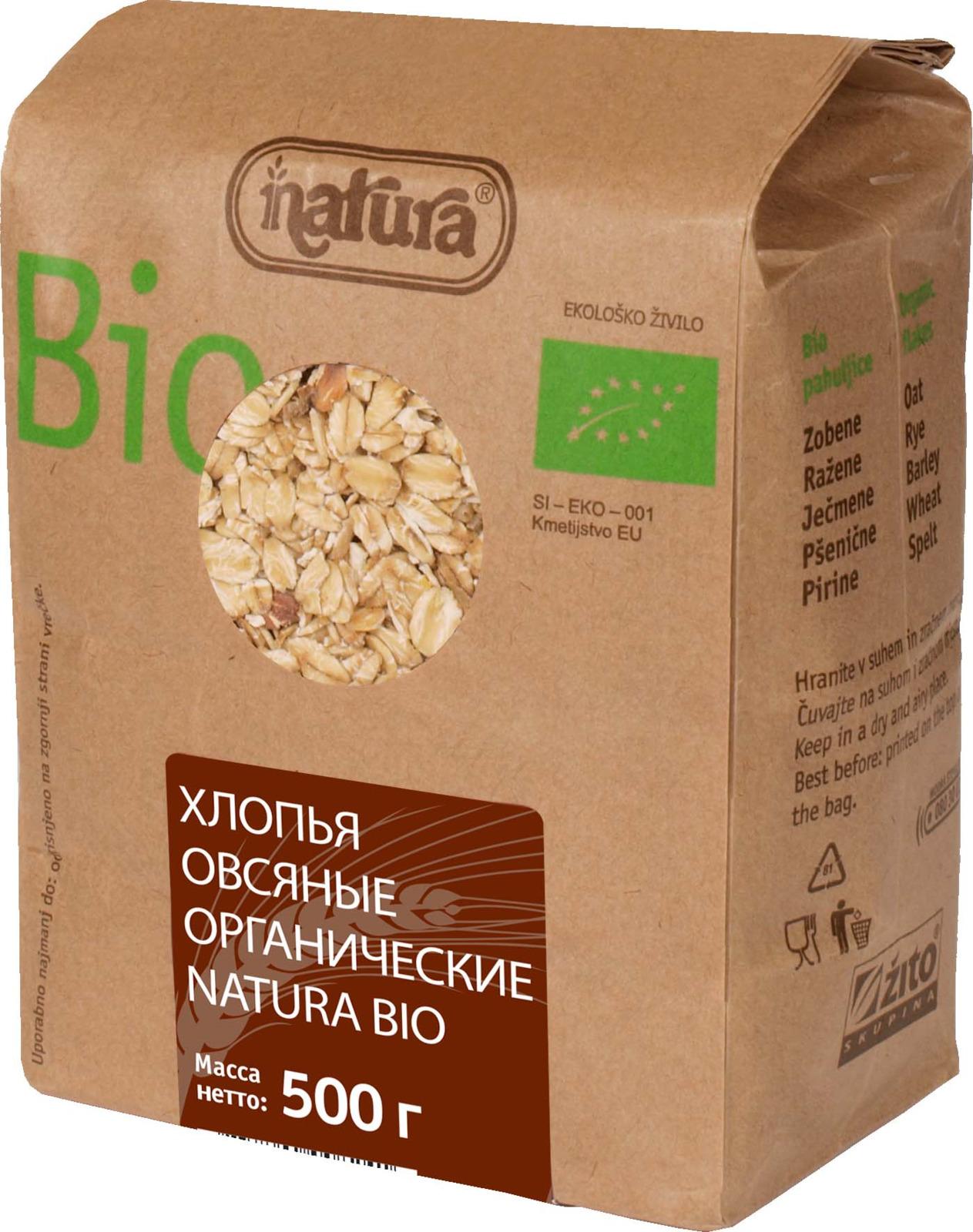 Zito Natura Bio Хлопья овсяные органические, 500 г