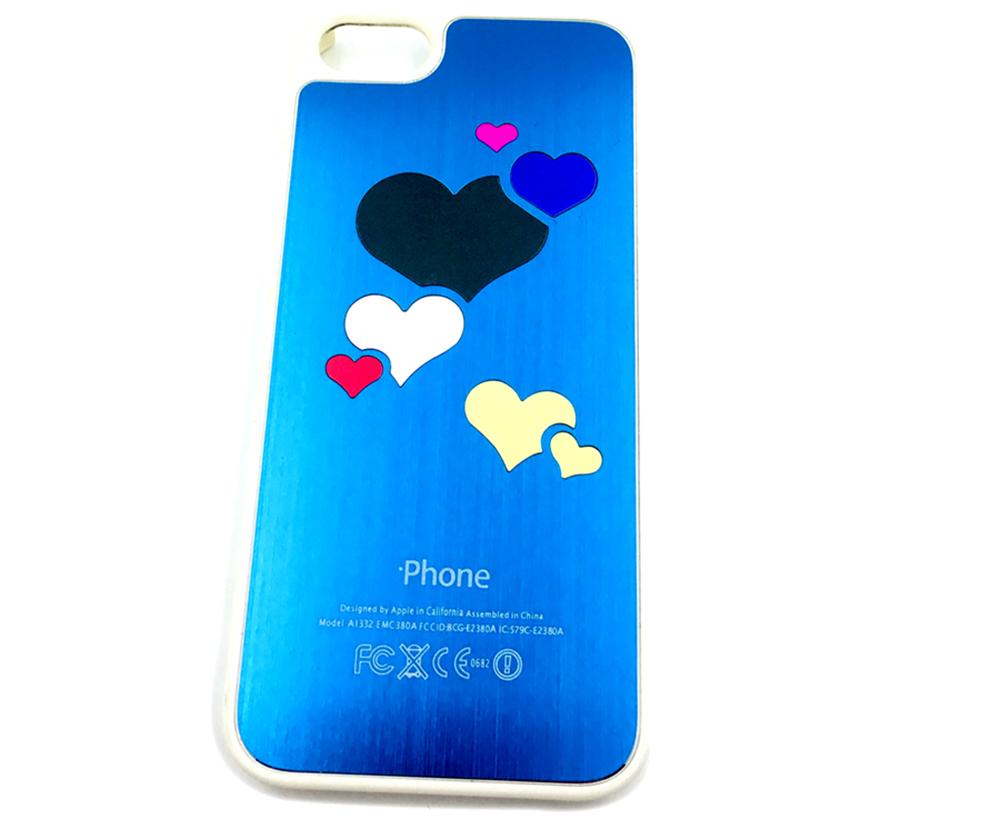 Чехол для сотового телефона Мобильная Мода iPhone 5/SE Накладка алюминиевая с принтом в виде сердец, синий