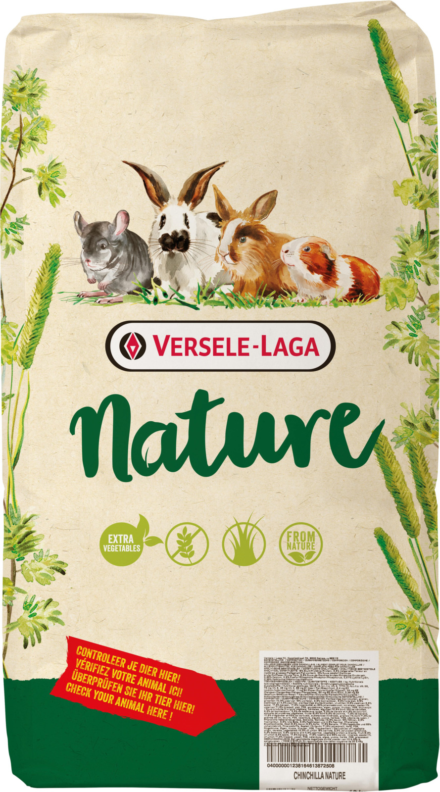 Корм сухой Versele-Laga Nature Chinchilla, для шиншилл, 9 кг