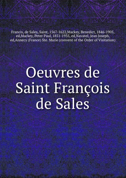 de Sales Francis Oeuvres de Saint Francois de Sales