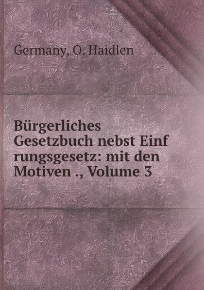 O. Haidlen Germany Burgerliches Gesetzbuch nebst Einf rungsgesetz: mit den Motiven ., Volume 3 österreich allgemeines burgerliches gesetzbuch abgb