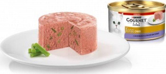 Корм консервированный Gourmet Gold, для кошек, с ягненком и фасолью, 12 шт по 85 г