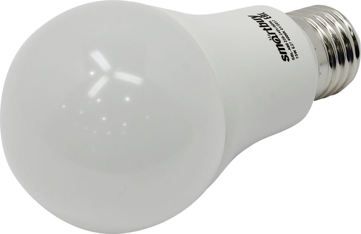 Лампочка SmartBuy светодиодная A60, холодный свет, цоколь E27, 4000 К, 15 Вт smartbuy a60 15w 3000 e27 sbl a60 15 30k e27