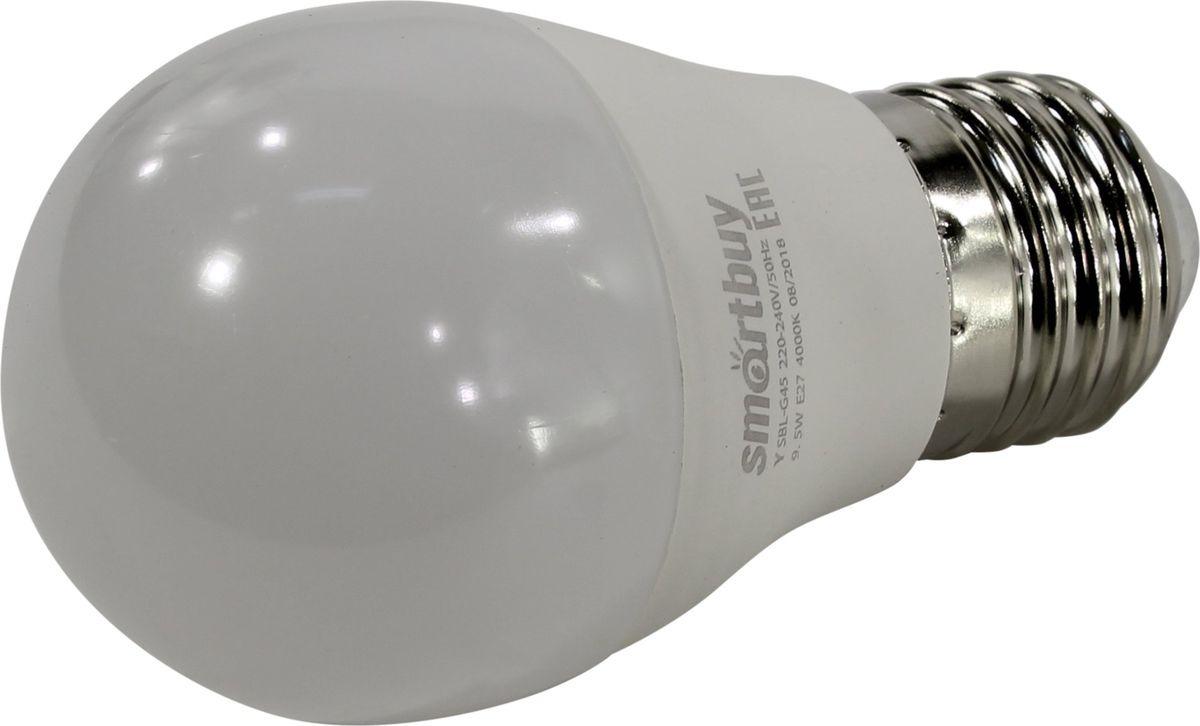 Лампа светодиодная SmartBuy G45, холодный свет, цоколь E27, 4000 К, 9,5 Вт лампа светодиодная smartbuy g45 теплый свет цоколь е27 7 вт