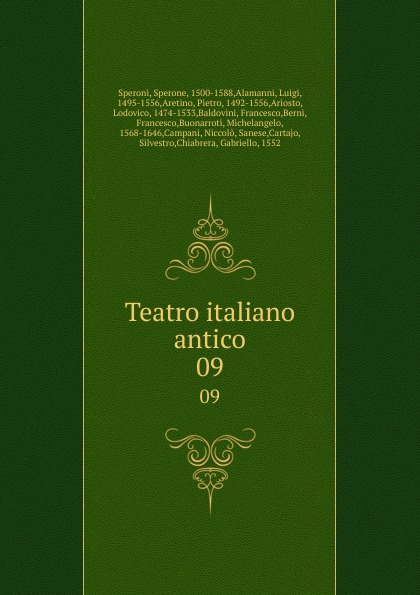 Sperone Speroni Teatro italiano antico. 09