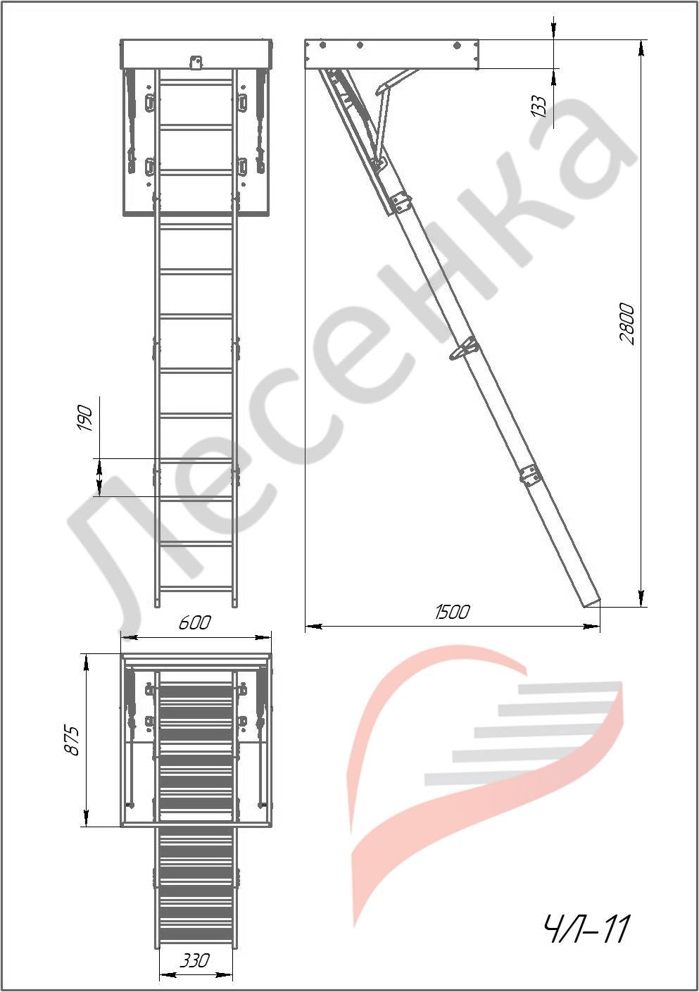 Чердачная лестница Лесенка ЧЛ-11, Сосна Лесенка
