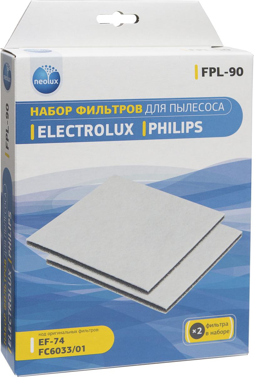 Набор фильтров Neolux FPL-90 для пылесосов Philips, Electrolux, 2 шт topperr ex10 фильтр для пылесосов electrolux philips aeg 4 шт