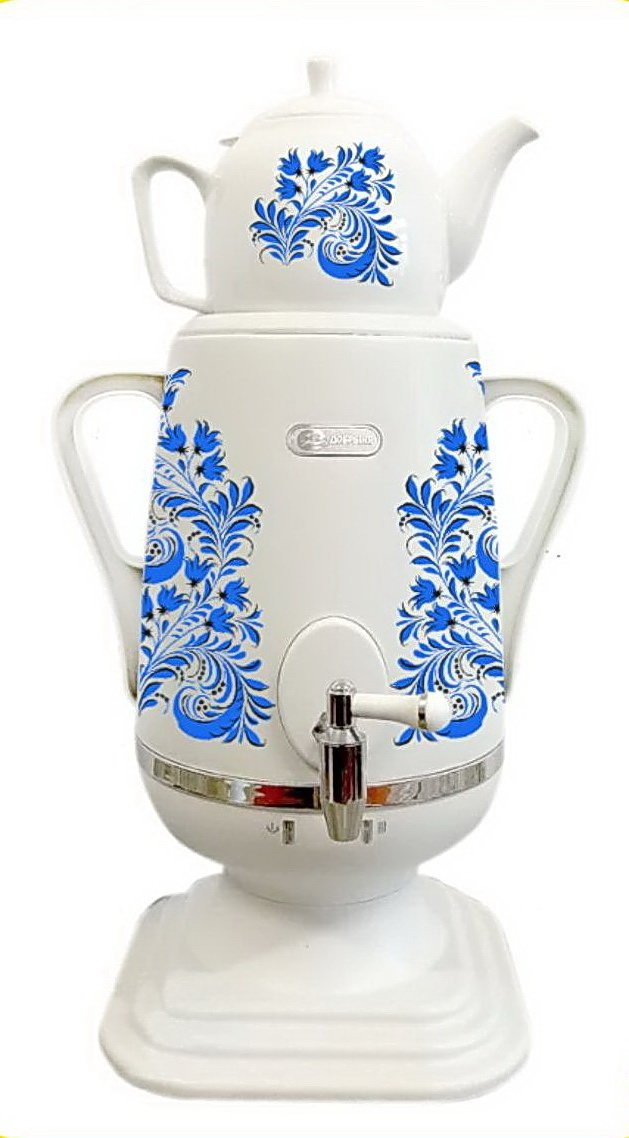Электрический самовар Добрыня DO-427, белый, голубой чайник электрический добрыня do 417