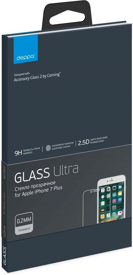 Deppa Ultra защитное стекло для Apple iPhone 7/8 Plus, глянцевое