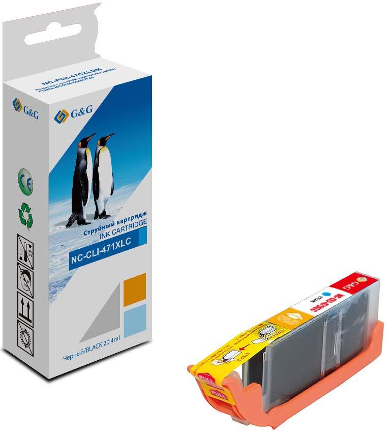 Картридж G&G NC-CLI-451-XLC, голубой, для струйного принтера crown xlc 2800