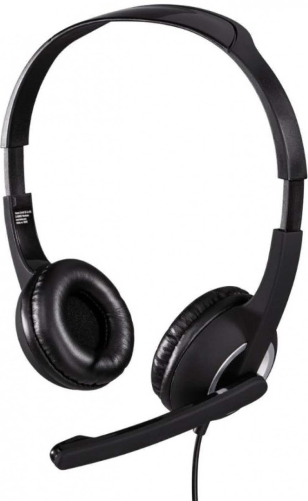 Наушники Hama Essential HS 300, с микрофоном, black/silver, 2 м