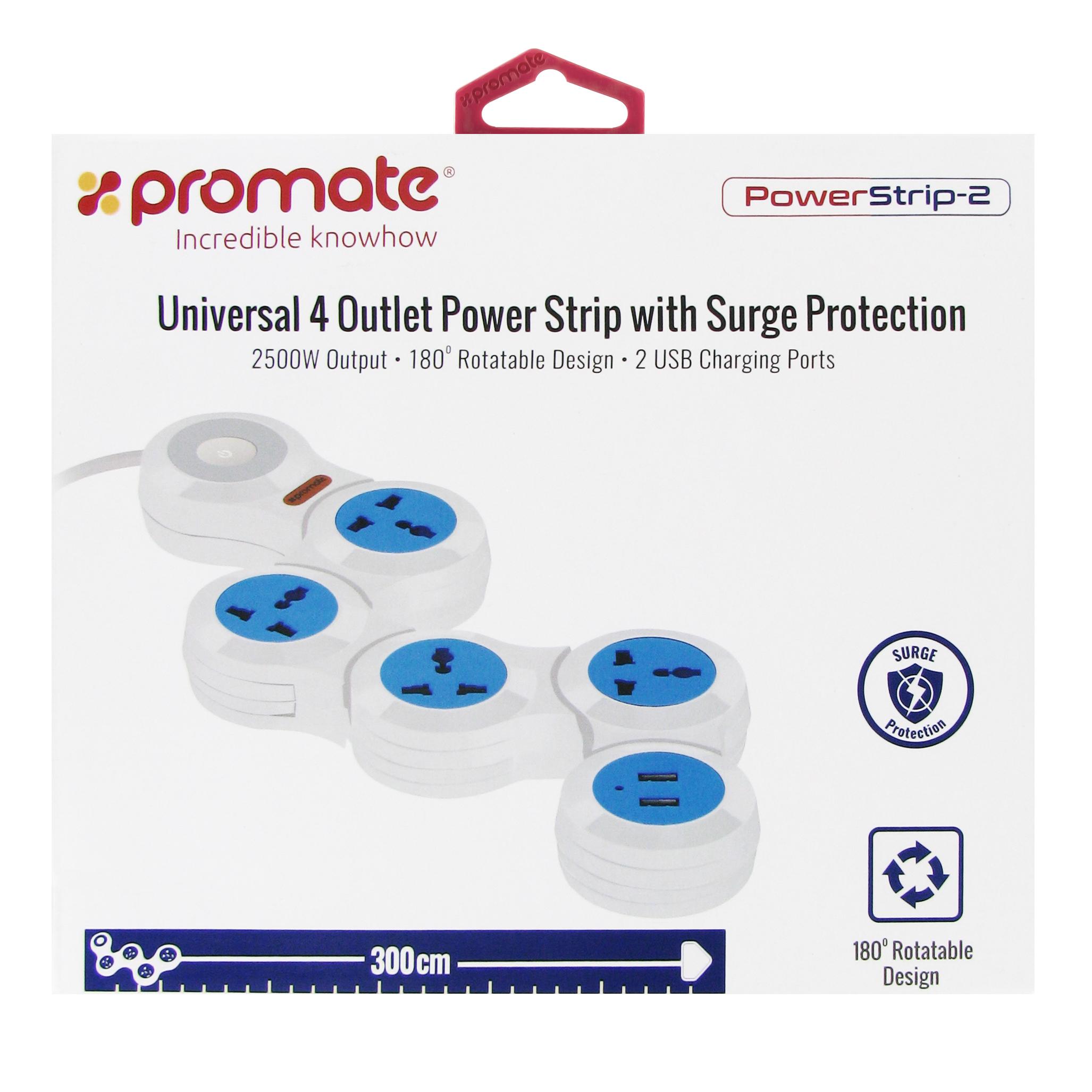 цена на Сетевой фильтр Promate powerStrip-2, белый, голубой