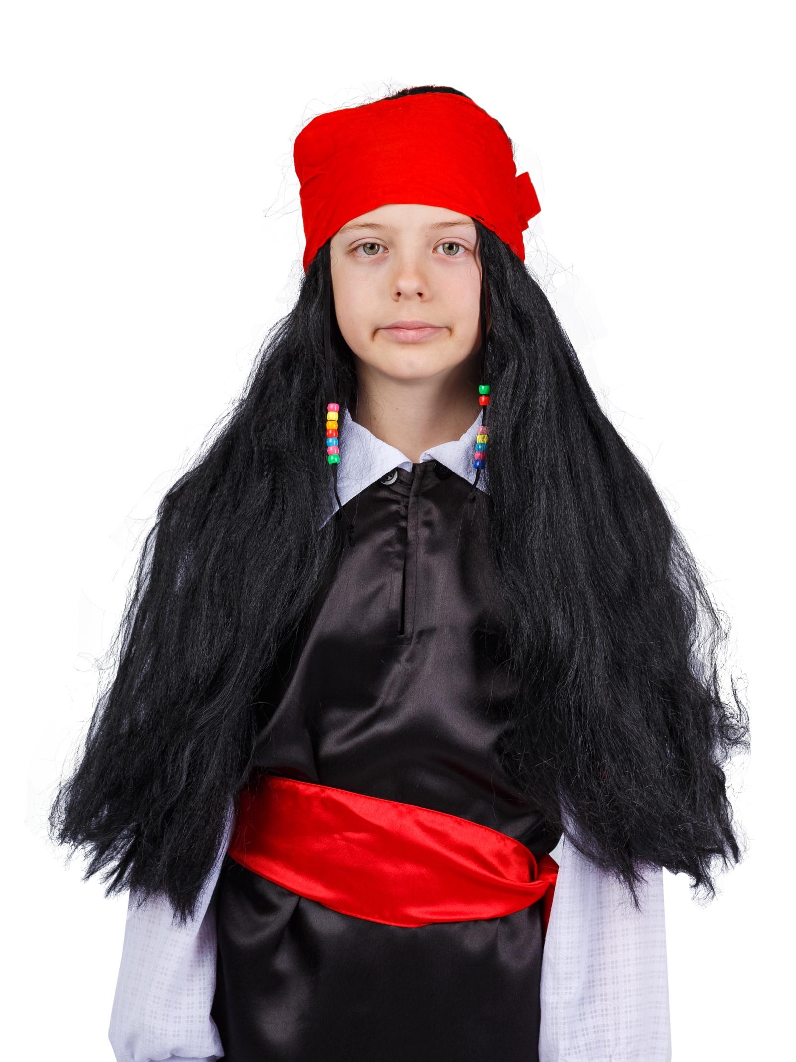 """Аксессуар для карнавального костюма Gala-Вальс Парик """"Джек-воробей"""", черный, красный"""