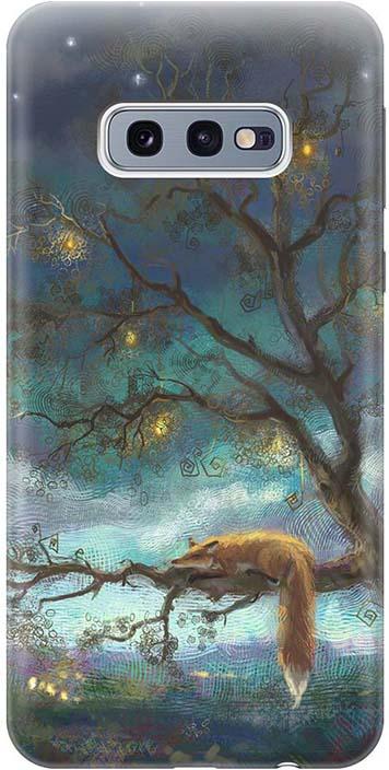 """Чехол для сотового телефона GOSSO CASES для Samsung Galaxy S10e с принтом """"Лиса на дереве"""", темно-синий"""