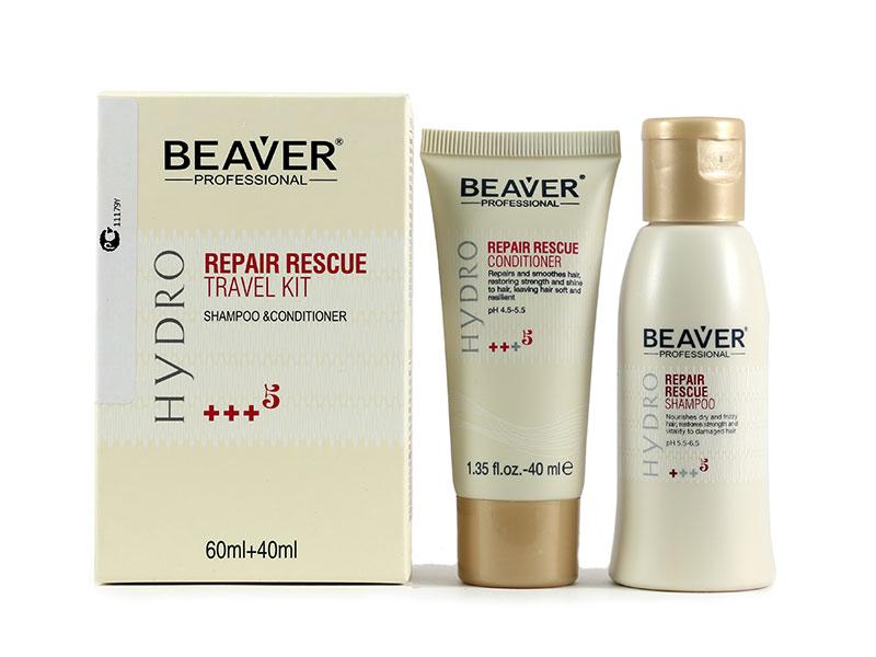 Косметический набор для волос Beaver Дорожный (шампунь 60 мл + кондиционер 40 мл) восстанавливающий kevin beaver hacking for dummies