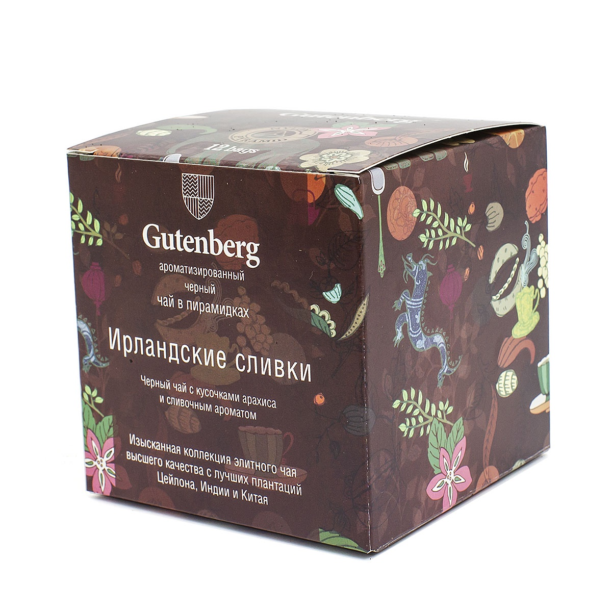 Чай в пирамидках Gutenberg Ирландские Сливки (кор. 12 шт.)PR44016-1Сорт выращивают в районе Верхний Ассам, но чай получил свое название не в честь плантации, а в честь ирландского сливочного ликера. Оба напитка отличаются крепостью и отлично бодрят. За пьянящий аромат отвечают натуральные эфирные масла. Ароматный купаж дополнен мелкими кусочками жареного миндаля, придающими напитку сладковатое ореховое послевкусие.Первым раскрывается глубокий, насыщенный аромат высококлассного ассама. Композицию гармонично дополняют нежные сливки с мягкими ореховыми и финиковыми нотами. Мягкий, но яркий вкус напитка отлично подчеркнет свежее молоко или нежирные сливки.Способ приготовления: Заваривать 4-5 минут при температуре воды 85C, 1 пакетик на 250 мл. воды.