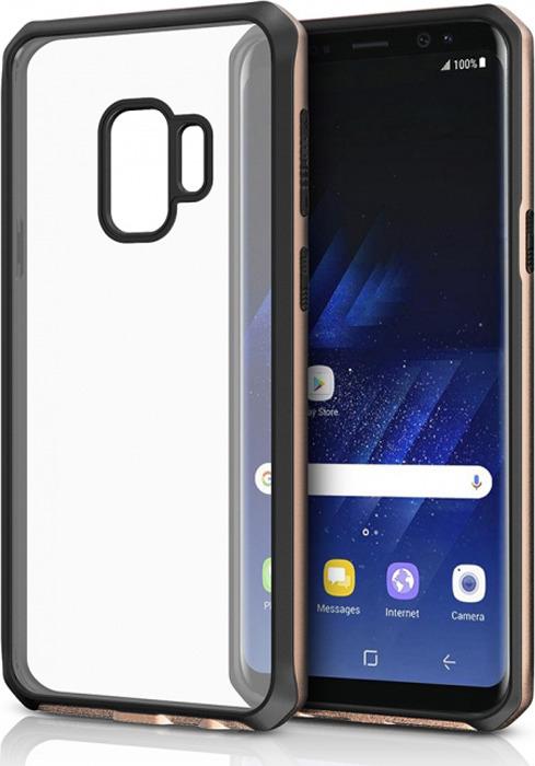 Чехол-накладка Itskins Hybrid Edge для Samsung Galaxy S9, черный, золотой, прозрачный