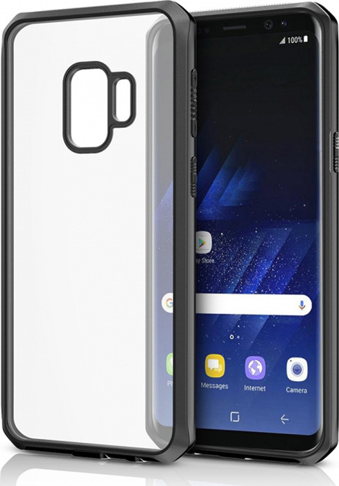 Чехол-накладка Itskins Hybrid Edge для Samsung Galaxy S9, черный, прозрачный