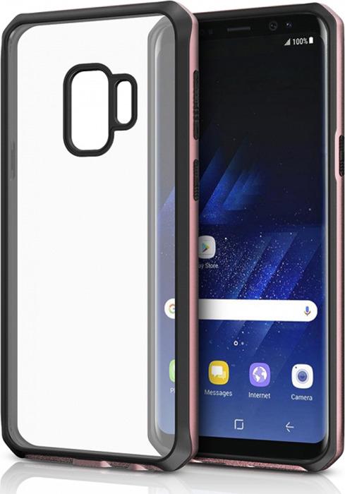 Чехол-накладка Itskins Hybrid Edge для Samsung Galaxy S9, черный, розовое золото, прозрачный