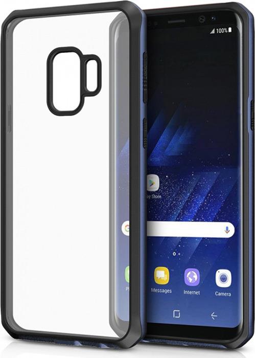Чехол-накладка Itskins Hybrid Edge для Samsung Galaxy S9, черный, синий, прозрачный