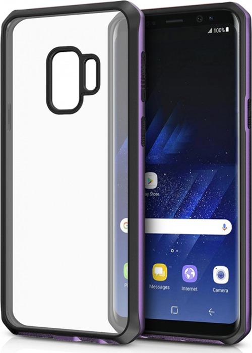 Чехол-накладка Itskins Hybrid Edge для Samsung Galaxy S9, черный, фиолетовый, прозрачный