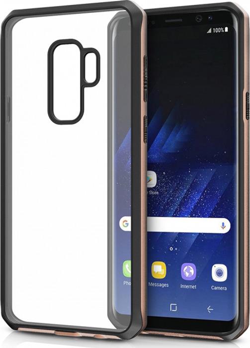 Чехол-накладка Itskins Hybrid Edge для Samsung Galaxy S9+, черный, золотой, прозрачный