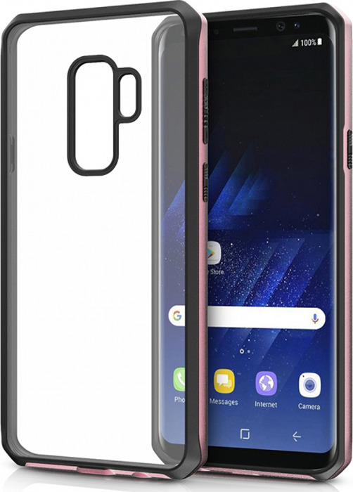 Чехол-накладка Itskins Hybrid Edge для Samsung Galaxy S9+, черный, розовое золото, прозрачный