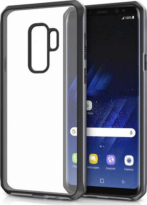 Чехол-накладка Itskins Hybrid Edge для Samsung Galaxy S9+, черный, серый, прозрачный